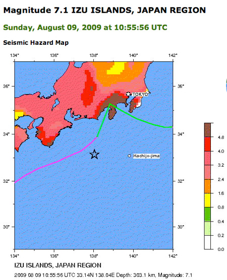 7.1 Earthquake, 9 August 2009, 7:56 pm JST
