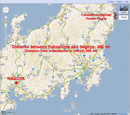 Nagoya / Fukushima Distance