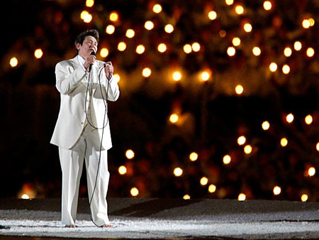k.d. lang performs at the 2010 Vancouver Olympics