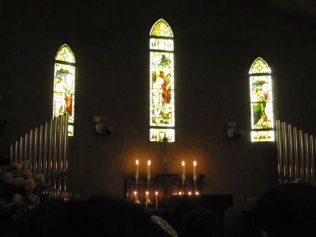 The alter and stained glass