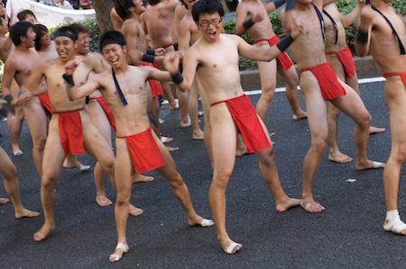 I don't think you could do this in a parade in the US without violating decency laws