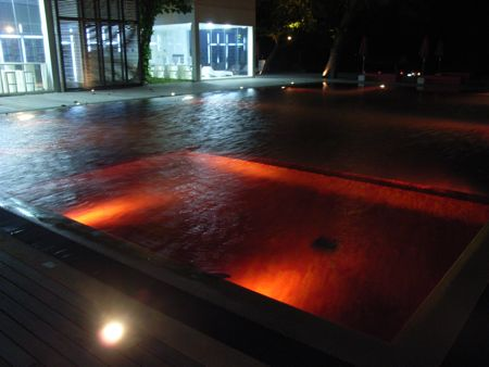 The red pool at night.